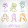 Hairstyles — Stockvectorbeeld