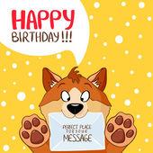 Köpek mesajı doğum günü — Stok Vektör