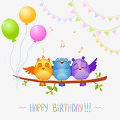 Birds sing birthday — Stock Vector
