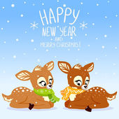 Fawns Christmas — Stock Vector
