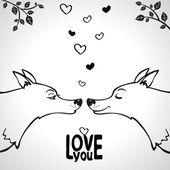 Wolf love — Vector de stock
