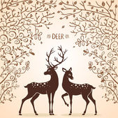 Deer trees — Stock Vector