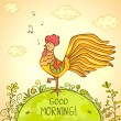 Cockerel morning — Stock Vector