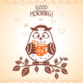 Owl morning — Stock Vector