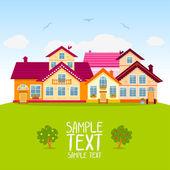Casas com telhados vermelhos — Vetor de Stock