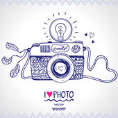 Camera sketch — Stock Vector