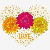 Flowers hearts — Vector de stock
