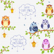 Owls super cute — Stock Vector