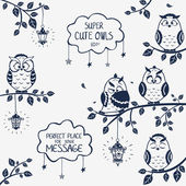 Owls funny — Stock Vector