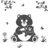 Sylwetka niedźwiedź — Wektor stockowy