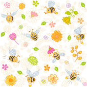Bees seamless — Stock Vector