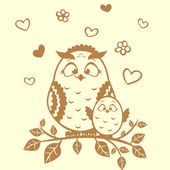 Owl and nestling — Stock Vector