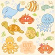 Sea set animals — Stock Vector #46611379