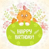 Cumpleaños de gatito — Vector de stock