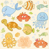 Sea set animals — Stock Vector