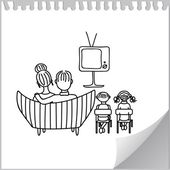 Watching tv — Vector de stock
