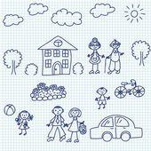 Kid drawing — Stock Vector