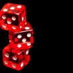 Three red dice on black background — Stock Photo