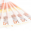 Crisis of eurozone, 50-euro banknotes — Stock Photo