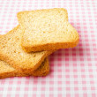 Toast on picnic tablecloth — Stock Photo
