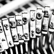 Type bars of typewriter with some type bars unfocused — Stock Photo