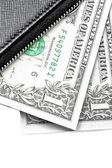 Detail of black purse with dollars — Stock Photo