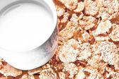 Superiore della visualizzazione della tazza di latte su fiocchi di mais — Foto Stock