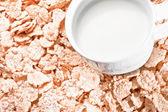 Detalle de leche y copos de maíz — Foto de Stock