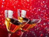 Detail of glasses of cocktail on bar table — Stock Photo
