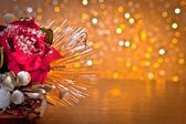 Christmas decoration on golden bokeh background — Stock Photo