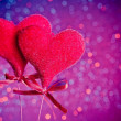 Two red velvet hearts, concept of valentine day — Foto Stock