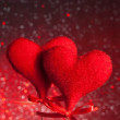 Two red velvet hearts, concept of valentine day — Stock fotografie