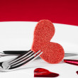 Valentine day dinner series on red background — Stock Photo