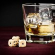 Dice near whiskey glass, concept of game — Stock Photo