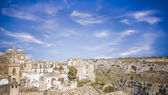 "Panoramic view of Matera with in front of ""La gravina"" — Foto Stock"