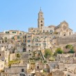 Panoramic view of tipical stones and church of Matera — Stock Photo