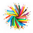 Top of view of colorful pencils in container isolated on white background — Stock Photo #44669329