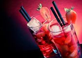 Strawberry cocktail with ice on wood table and space for text — Stock Photo