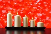 White candles on wood table valentine day concept — Stok fotoğraf