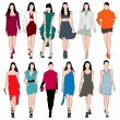 12 Fashion Models Silhouettes Vector Set — Stock Vector