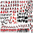 Over 150 at leisure silhouettes - Stock Vector