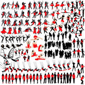 Over 150 at leisure silhouettes — Stock Vector