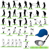 40 Detailed Golf vector silhouettes set — Stock Vector