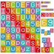 Pixel alphabet. Set of all letters and numbers. — Stock Vector