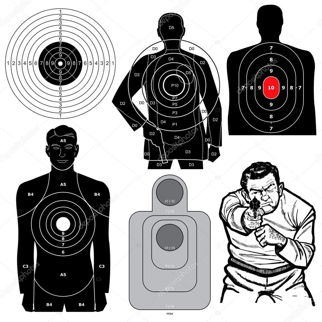 Set of 6 Vector Shooting Targets — Stock Vector © kaludov #16946797
