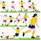 12 Female Soccer Silhouettes Set — Stock Vector
