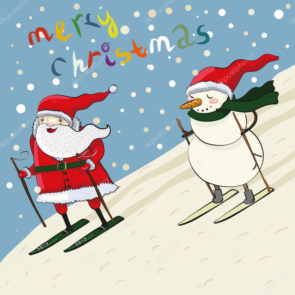 卡通圣诞老人和雪人滑雪
