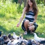 Girl feeding pigeons — Stock Photo