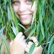 Girl with willow branches — Stock Photo