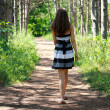 Stock Photo: Girl in a birch grove